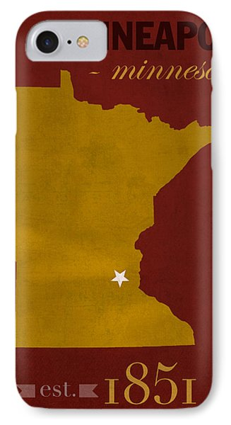 University Of Minnesota Golden Gophers Minneapolis College Town State Map Poster Series No 066 IPhone Case by Design Turnpike