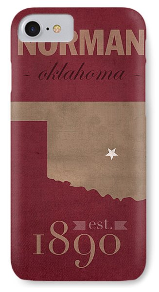 University Of Oklahoma Sooners Norman College Town State Map Poster Series No 083 IPhone Case