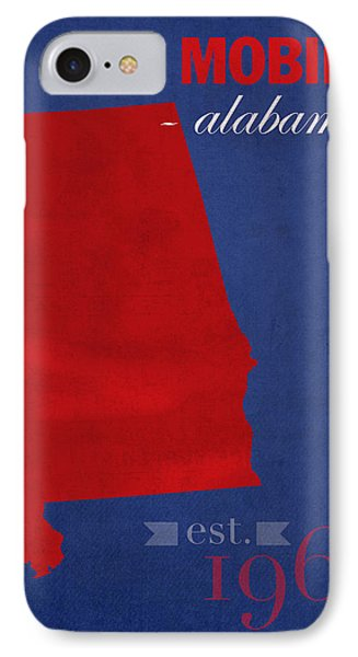 University Of South Alabama Jaguars Mobile College Town State Map Poster Series No 095 IPhone Case by Design Turnpike