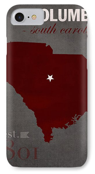 University Of South Carolina Gamecocks Columbia College Town State Map Poster Series No 096 IPhone Case