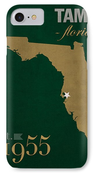 University Of South Florida Bulls Tampa Florida College Town State Map Poster Series No 101 IPhone Case by Design Turnpike