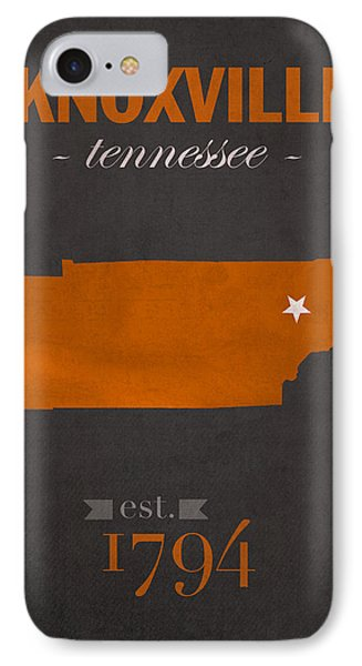 University Of Tennessee Volunteers Knoxville College Town State Map Poster Series No 104 IPhone Case