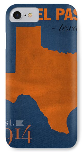 University Of Texas At El Paso Utep Miners College Town State Map Poster Series No 110 IPhone Case