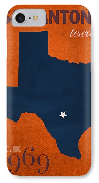 University Of Texas At San Antonio Roadrunners College Town State Map Poster Series No 111 IPhone Case