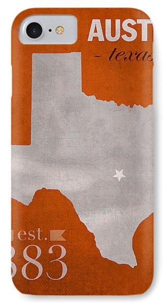 University Of Texas Longhorns Austin College Town State Map Poster Series No 105 IPhone Case by Design Turnpike