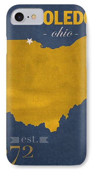University Of Toledo Ohio Rockets College Town State Map Poster Series No 112 IPhone Case