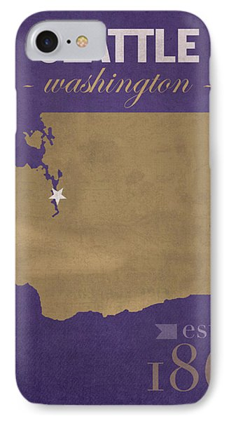 University Of Washington Huskies Seattle College Town State Map Poster Series No 122 IPhone Case by Design Turnpike