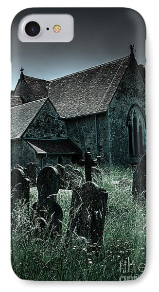 unkempt overgrown gravestones in the churchyard of St Mary's chu IPhone Case by Peter Noyce