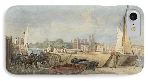 Unloading Barges At Low Tide IPhone Case