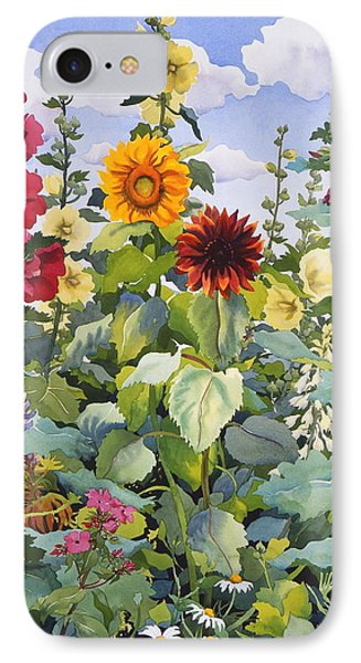 Hollyhocks And Sunflowers IPhone Case