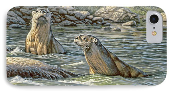 Up For Air - River Otters IPhone Case by Paul Krapf