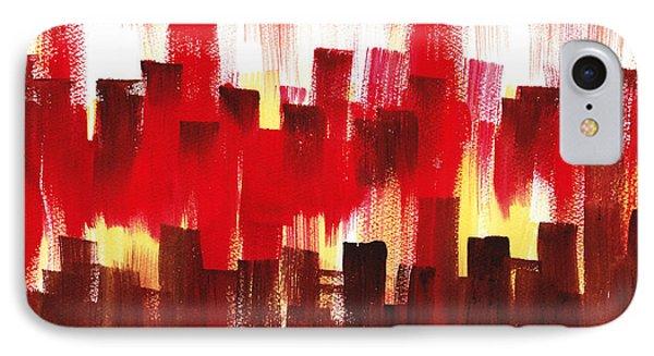 IPhone Case featuring the painting Urban Abstract Evening Lights by Irina Sztukowski