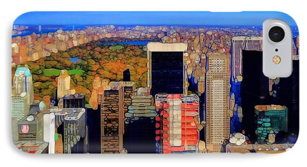 Urban Abstract New York City Skyline And Central Park Phone Case by Dan Sproul