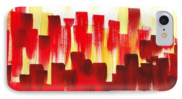 IPhone 7 Case featuring the painting Urban Abstract Red City Lights by Irina Sztukowski