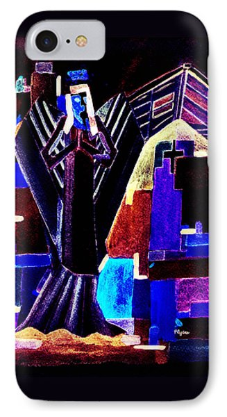 IPhone Case featuring the painting Urban Angel Of Dark by Paula Ayers