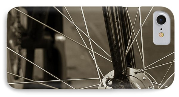 IPhone Case featuring the photograph Urban Spokes In Sepia by Steven Milner