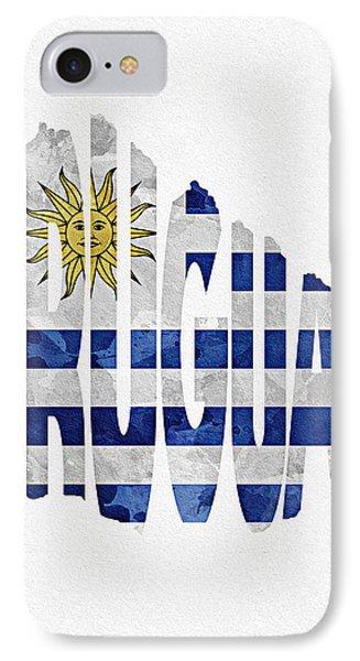 Uruguay Typographic Map Flag IPhone Case by Ayse Deniz
