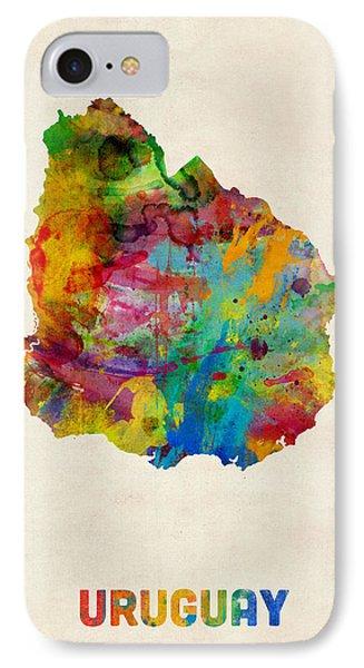 Uruguay Watercolor Map IPhone Case