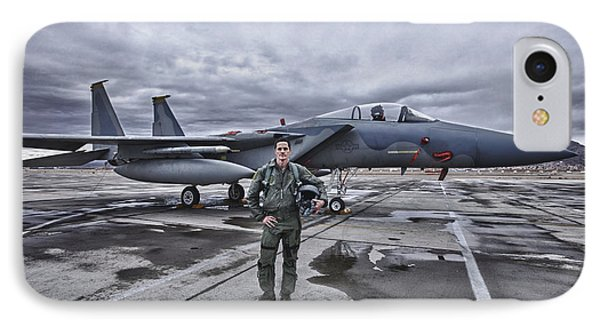 U.s. Air Force Pilot Standing In Front IPhone Case