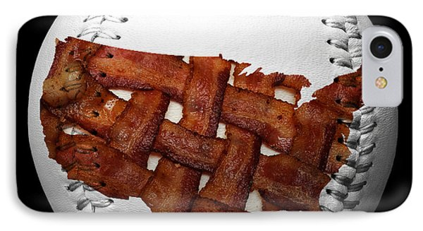 Us Bacon Weave Map Baseball Square Phone Case by Andee Design