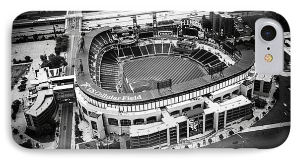 U.s. Cellular Field Aerial Picture In Black And White IPhone Case by Paul Velgos