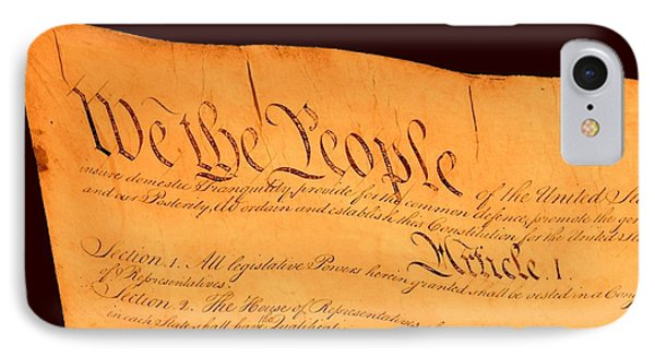 Us Constitution Closest Closeup Brown Background Phone Case by L Brown