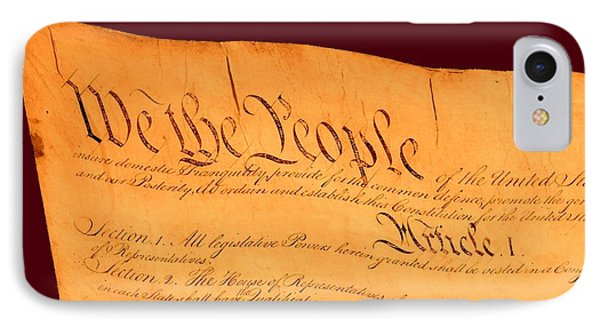 Us Constitution Closest Closeup Red Brown Background Phone Case by L Brown