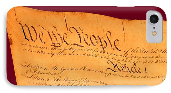 Us Constitution Closest Closeup Violet Red Background Phone Case by L Brown
