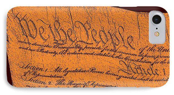 Us Constitution Closeup Sculpture Brown Background Phone Case by L Brown