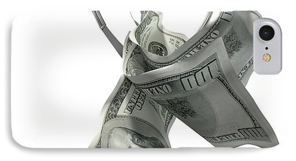 Us Dollars In A Robotic Claw IPhone Case by Allan Swart