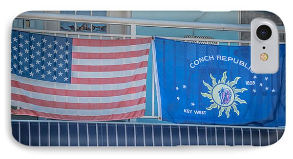 Us Flag And Conch Republic Flag Key West - Hdr Style IPhone Case