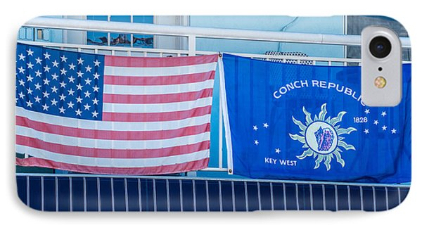 Us Flag And Conch Republic Flag Key West  IPhone Case