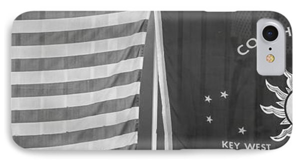 Us Flag And Conch Republic Flag Key West  - Panoramic - Black And White IPhone Case