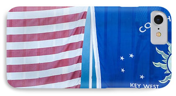 Us Flag And Conch Republic Flag Key West  - Panoramic IPhone Case by Ian Monk
