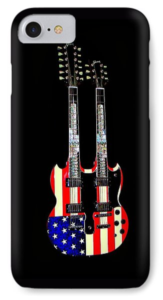 U S Flag Gibson Guitar Poster IPhone Case by Jean Goodwin Brooks