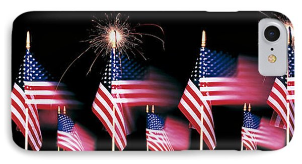 Us Flags And Fireworks IPhone Case by Panoramic Images