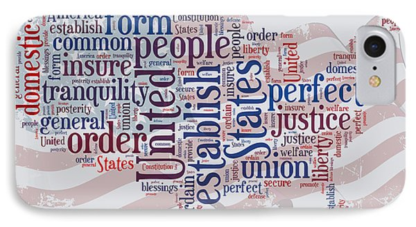 Us Map Preamble Word Cloud IPhone Case