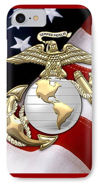 U. S. Marine Corps - U S M C Eagle Globe And Anchor Over American Flag. IPhone Case by Serge Averbukh