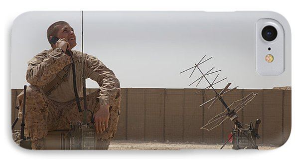 U.s. Marine Looks Up To The Sky While Phone Case by Stocktrek Images