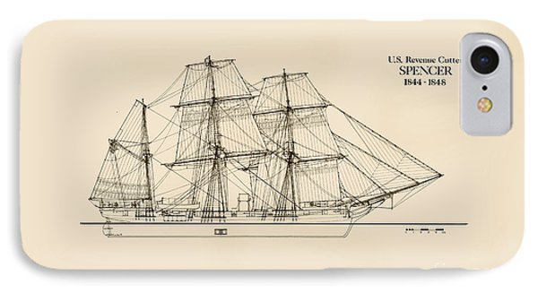 U. S. Revenue Cutter Spencer IPhone Case by Jerry McElroy - Public Domain Image