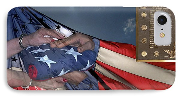 Us Veterans Burial Flag 3 Panel Composite Digital Art Phone Case by Thomas Woolworth