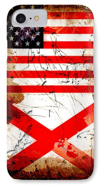 Usa Alabama Grunge Flags IPhone Case by David G Paul