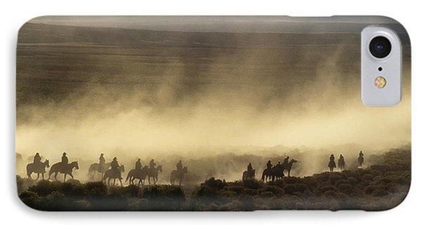 Usa, California, Bishop, Cattle Drive IPhone Case by Ann Collins