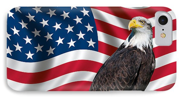 Usa Flag And Bald Eagle IPhone Case by Carsten Reisinger