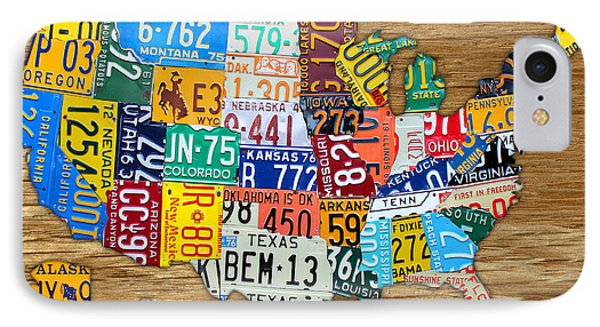 Usa License Plate Map Car Number Tag Art On Light Brown Stained Board IPhone Case