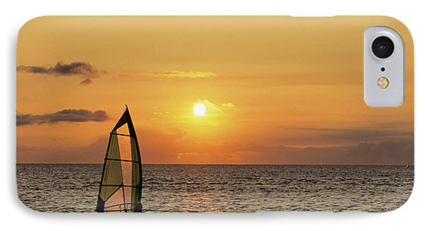 Usa, Maui, Hawaii, Sunset, Windsurfing IPhone Case by Gerry Reynolds