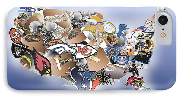 Usa Nfl Map Collage IPhone Case