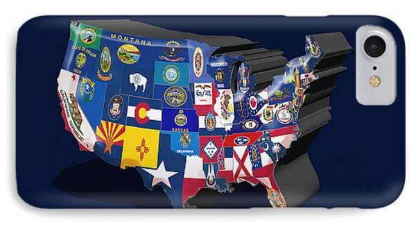 Usa State Flags Blue IPhone Case by Brian Reaves