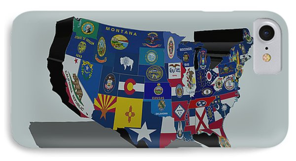Usa States And Flags 5a IPhone Case by Brian Reaves