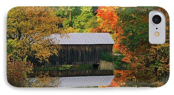 Usa, Vermont Covered Bridge And Autumn IPhone Case